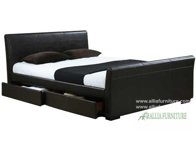 tempat tidur lapis kulit laci model milan