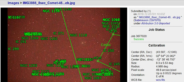 Astrometry confirms Comet 46P/Wirtanen just visible in 8 second, 150mm DSLR image (Source: Palmia Observatory)