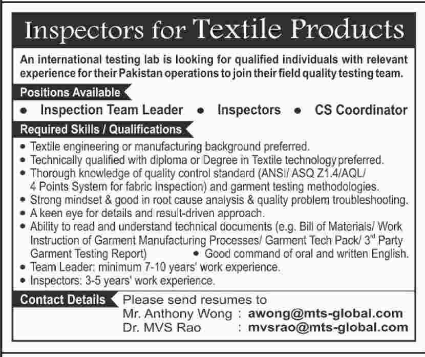 Jobs as Inspector, Cs Coordinator, Team Leader 2019