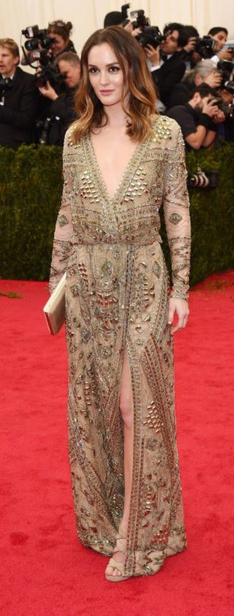Leigton Meester in a gold Emilio Pucci gown at the Met Gala 2014