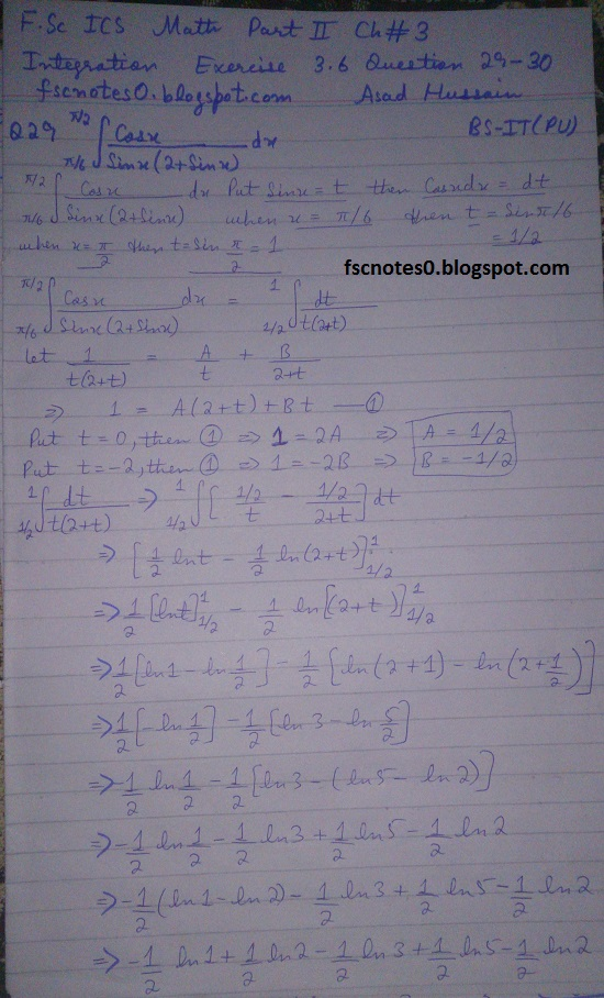 FSc ICS Notes Math Part 2 Chapter 3 Integration Exercise 3.6 question 29 - 30 by Asad Hussain