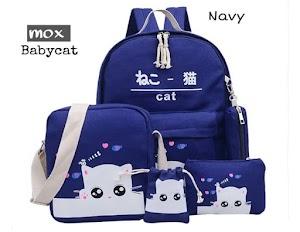 Tas Sekolah Anak Perempuan Model Baby Cat 4in1 - Navy
