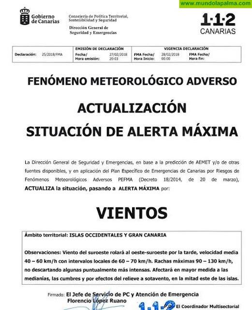 La Palma entra a partir de las 12 de la noche en ALERTA MÁXIMA por VIENTOS