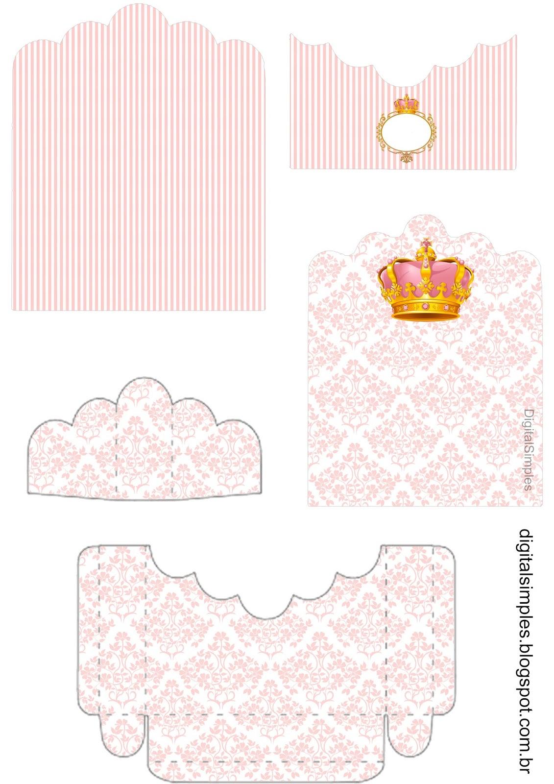 Kit Personalizado Tema Coroa Rosa Menina Para Imprimir