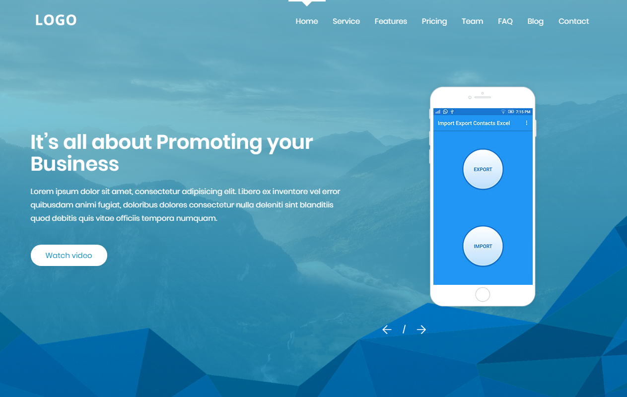 Mobile App Landing Page Blogger Template