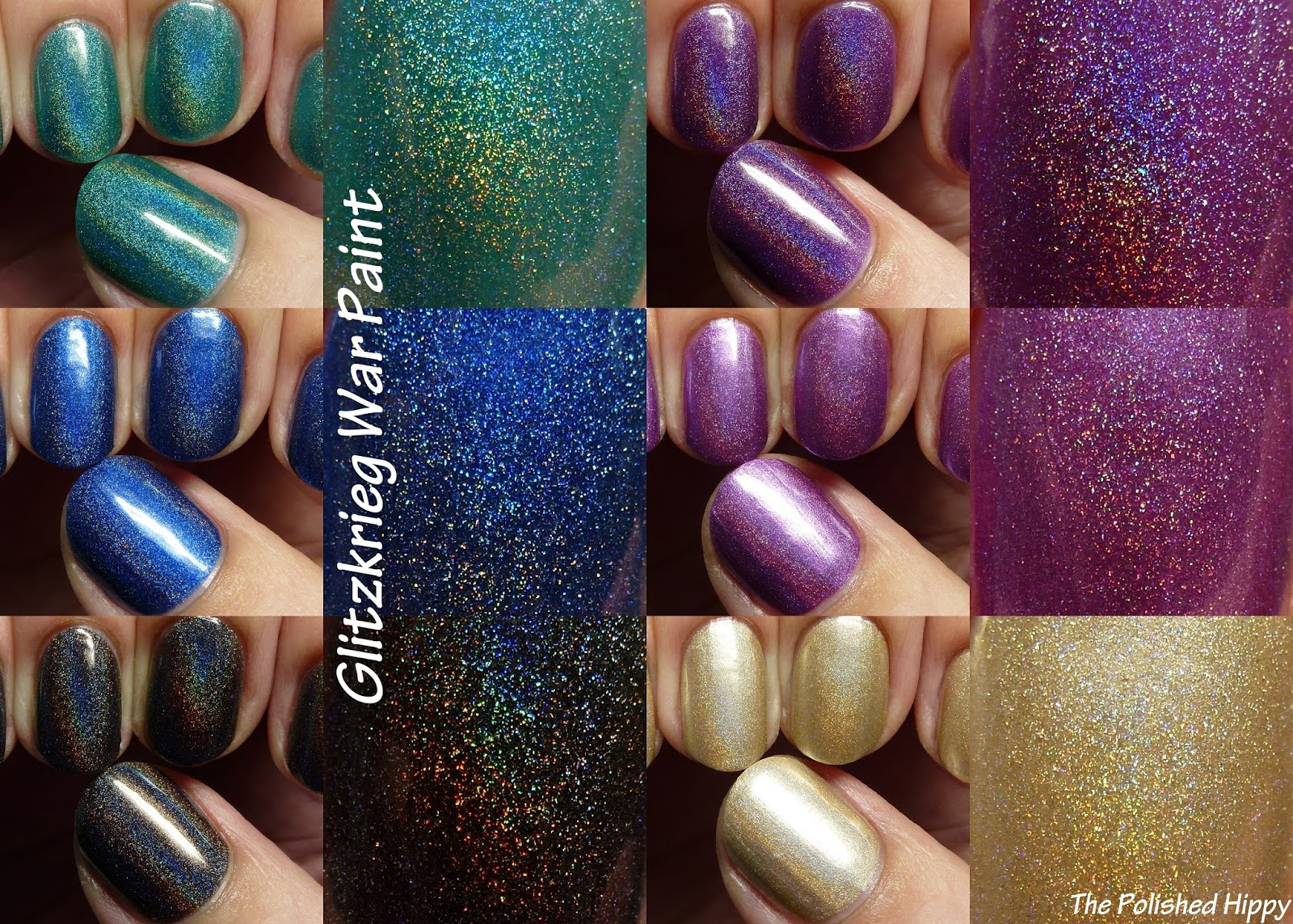 The Polished Hippy: Glitzkrieg War Paint Holo-Back Girl swatches