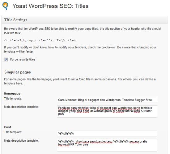 wordpress sangat mudah karena bisa menggunakan plugin SEO sehingga yang di perlukan hanya Plugin SEO Favorit untuk Wordpress