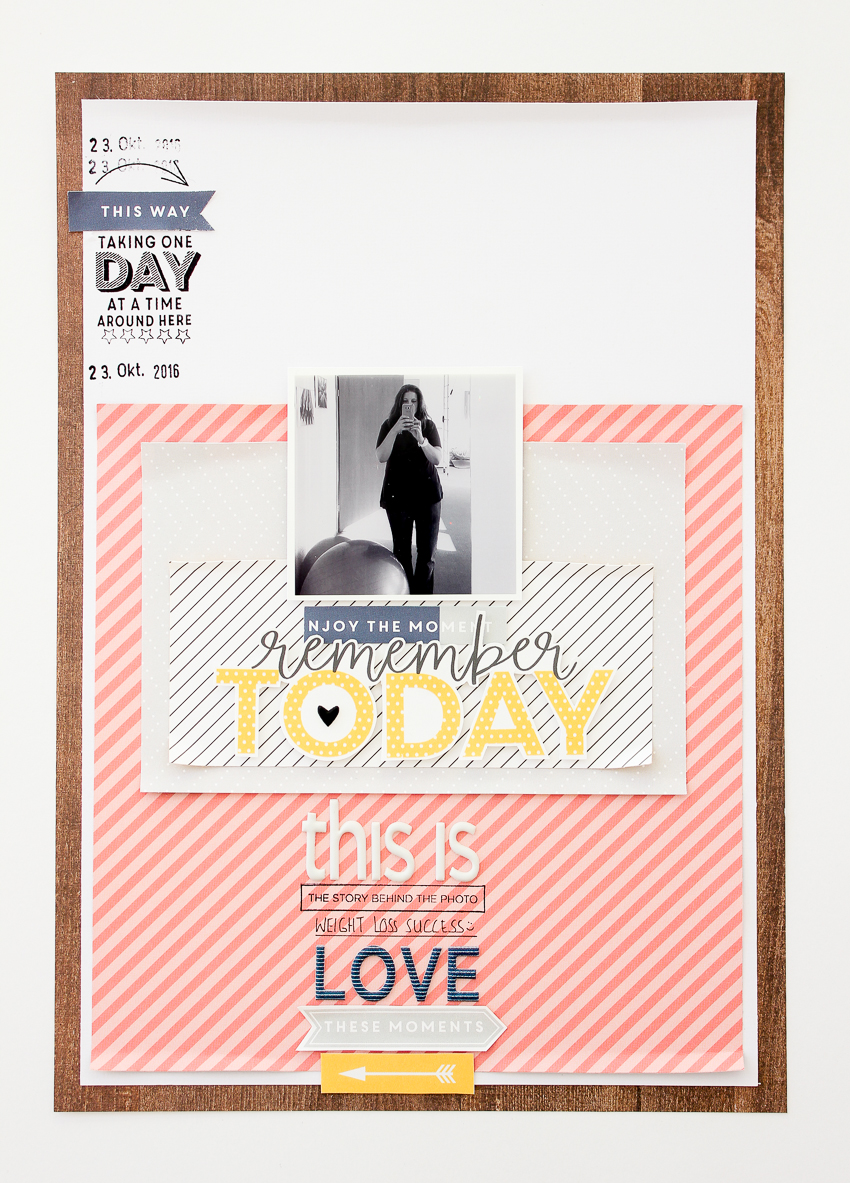 wood pattern - clean and simple #scrapbooking layout by Janna Werner