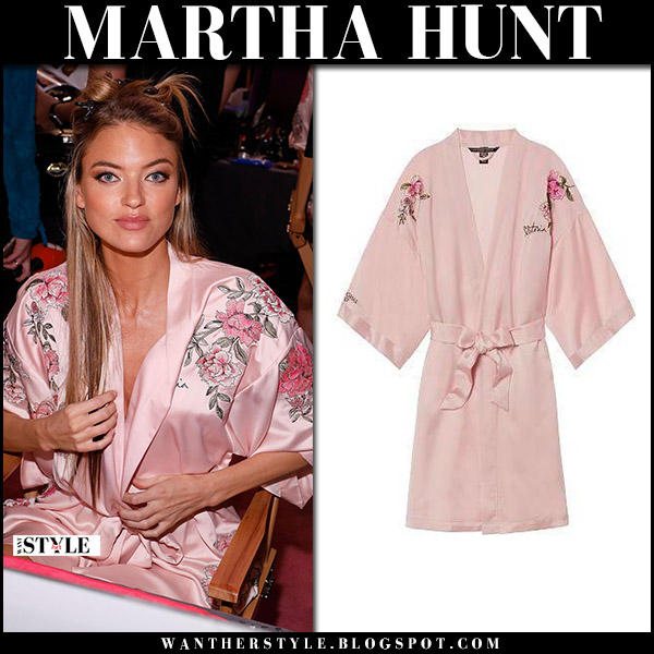 Martha Hunt in pink silk floral embroidered robe at Victoria's Secret Fashion Show 2017