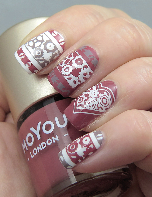 Nail Art Rosey Steampunk Stamping With Moyou London Procrastinails