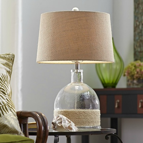 Glass Lamp with Rope Wrap