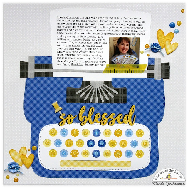 Doodlebug Petite Prints Typewriter Layout by Mendi Yoshikawa (using Doodlebug Silhouette Cutting Files)