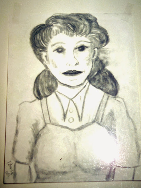 Pencil drawing of American Lady by Gloria Poole; 1995 in Atlanta, GA