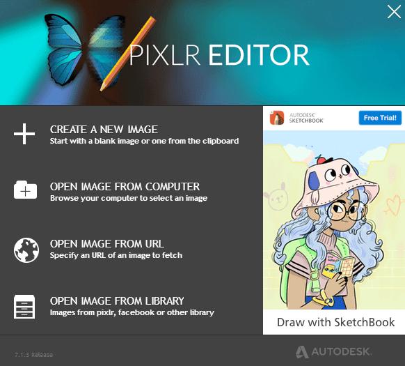 Pixlr online photo editing site