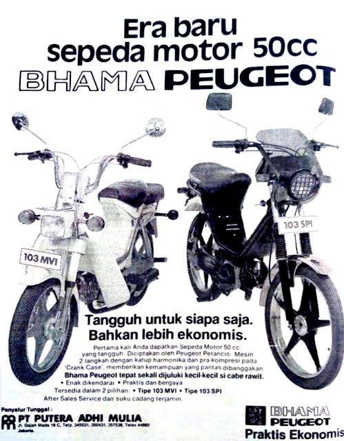 Brosur Motor Peugeot Bhama moped 103 MVI 103 SPI