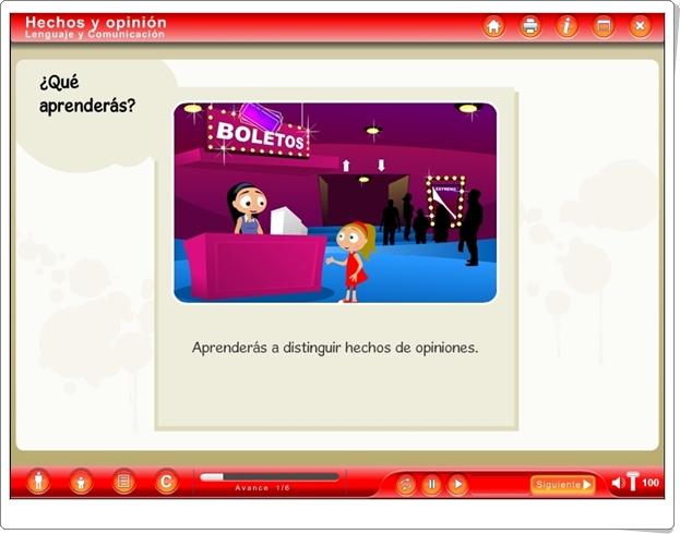 """""""Hechos y opinión"""" (Aplicación interactiva de Lengua Española)"""