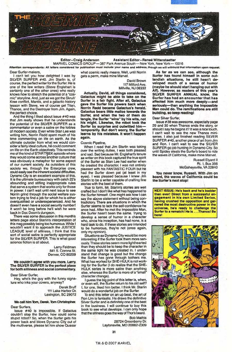 Read online Silver Surfer (1987) comic -  Issue #43 - 33