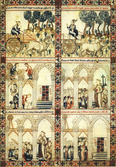 Miniaturas en una página de las Cantigas escritas por el rey Alfonso X