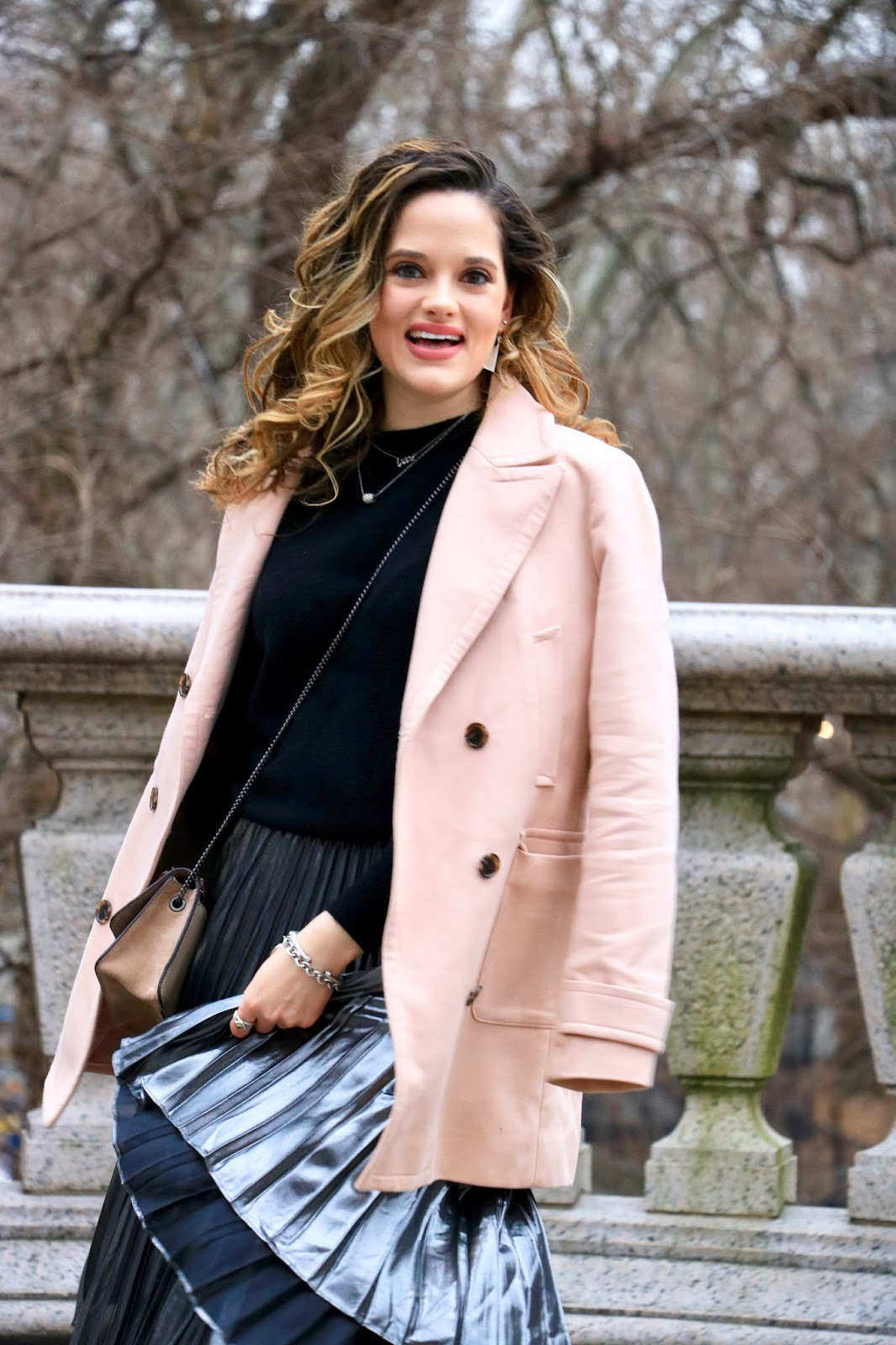 Nyc fashion blogger Kathleen Harper wearing a blush peacoat outfit