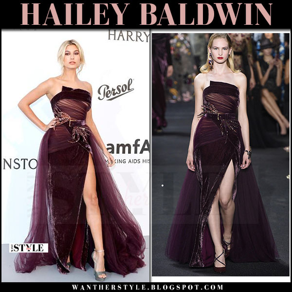 Hailey Baldwin in strapless burgundy gown elie saab what she wore cannes may 2017 amfar