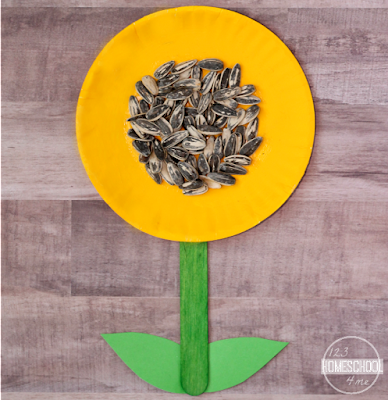 glue sunflower seeds on the yellow plate to make a sunflower craft