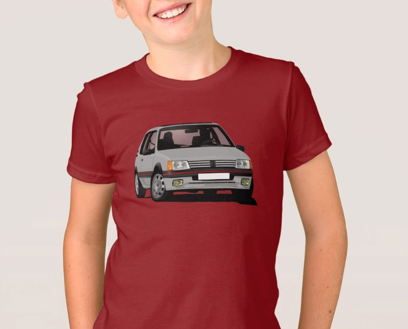 Gray Cornering Peugeot 205 GTi shirts for kids