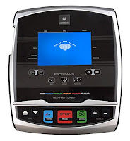 """Bodyguard E45's console with 6.5"""" blue LCD display, USB port, media shelf, 8 user ID profiles, wireless heart-rate chest strap compatible"""
