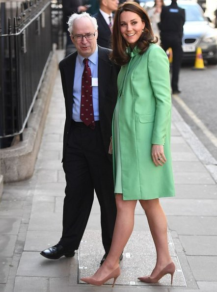 Kate Middleton wore a bespoke green Jenny Packham coat and dress, Gianvito Rossi Praline suede pumps, carried Loeffler Randall Leather Clutch