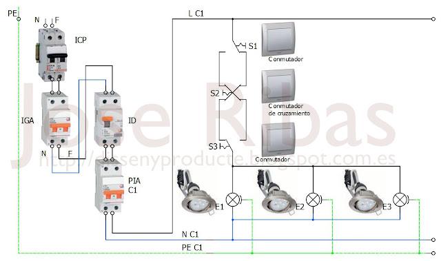 Instalaci n de interruptores conmutados y de cruzamiento - Interruptores para lamparas ...