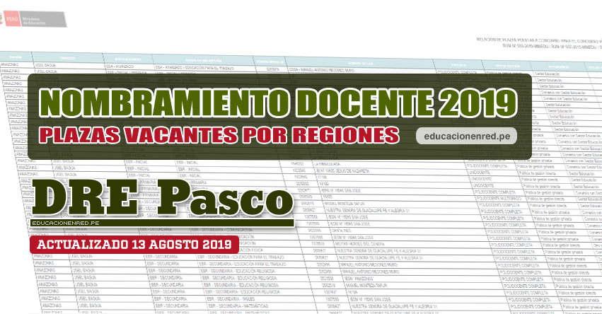 DRE Pasco: Plazas Vacantes para Nombramiento Docente 2019 (.PDF ACTUALIZADO MARTES 13 AGOSTO) www.drepasco.gob.pe