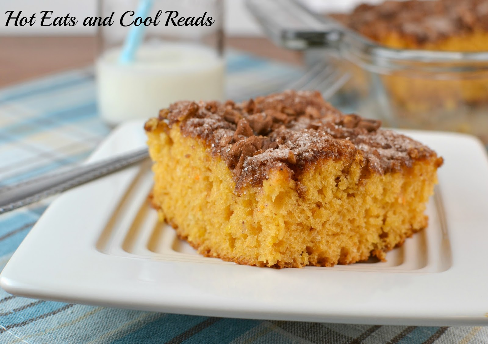 Delicious butterscotch cake with a crunchy, sugary topping! Super easy recipe too! Butterscotch Coffee Cake from Hot Eats and Cool Reads
