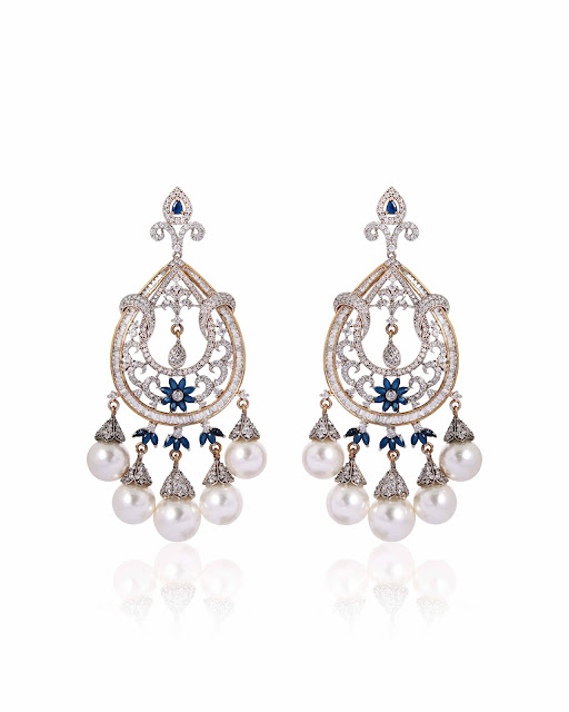 Pearl Drop Chandelier Earrings by Anaqa