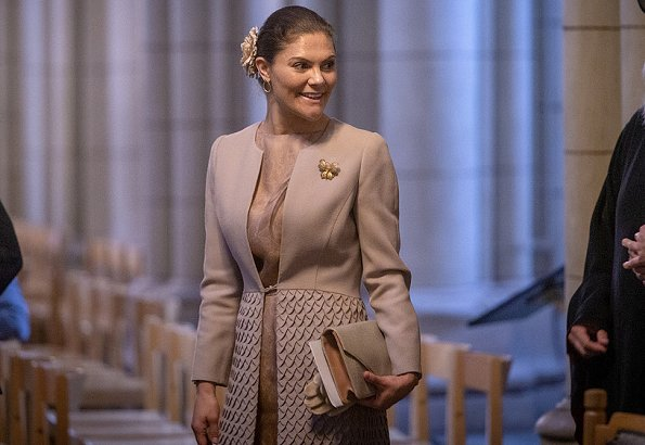 Crown Princess Victoria wore a brown coat and dress by Swedish-Lebanese designer Fadi el Khoury, By Malene Birger pumps and clutch bag