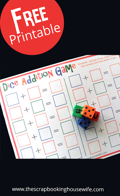 Dice Addition MATH Game for Kids Free Printable | Ellabella Designs