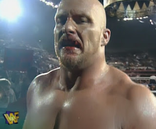 WWF / WWE - King of the Ring 96 - Steve Austin got a bust lip in his match with Marc Mero