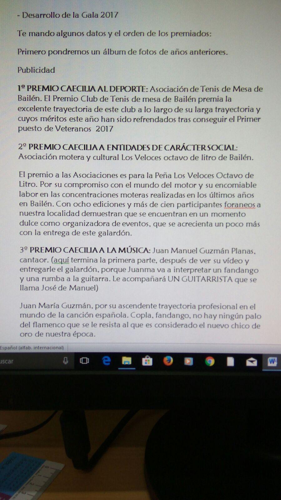 BAILÉN INFORMATIVO: Breve currículum PREMIOS CAECILIA 2017