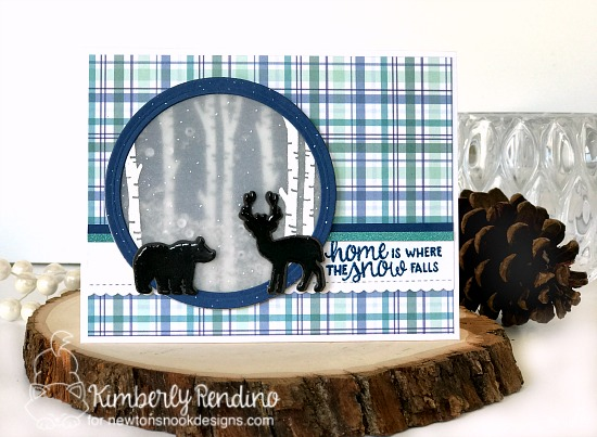 holiday card by Kimberly Rendino | Newton's Nook | Serene Silhouettes | birch trees | deer | bear | shaker card | sequins