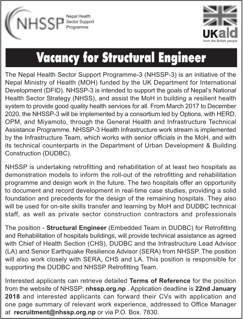 Structural Engineer Job Vacancy  Nepal Health Sector Support