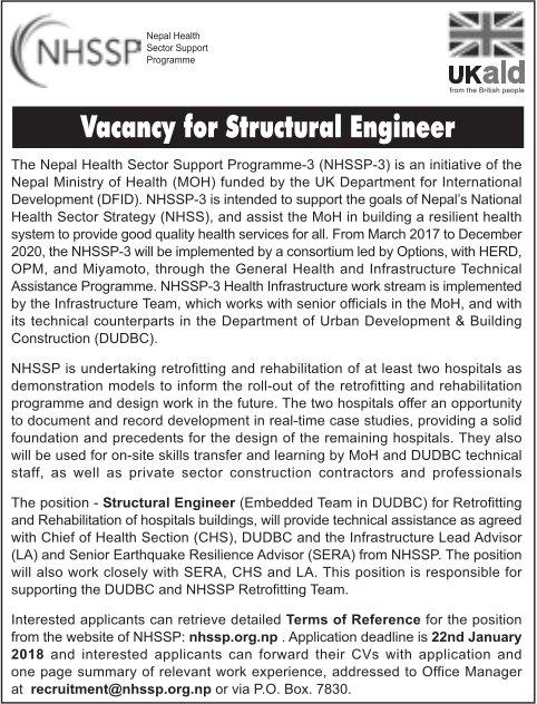 Structural Engineer Job Vacancy @ Nepal Health Sector Support - structural engineer job description