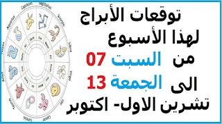 توقعات الأبراج لهذا الأسبوع من السبت 07 الى الجمعة 13 تشرين الاول- اكتوبر 2017