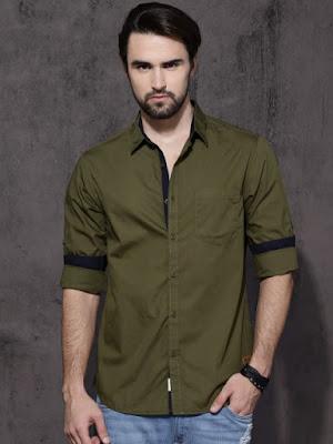 Haki renk gömlek kombini