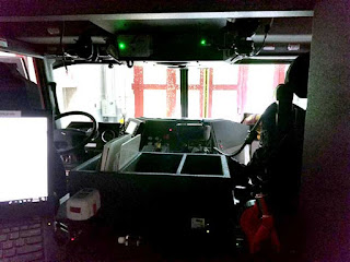 View inside a state of the art fire truck.