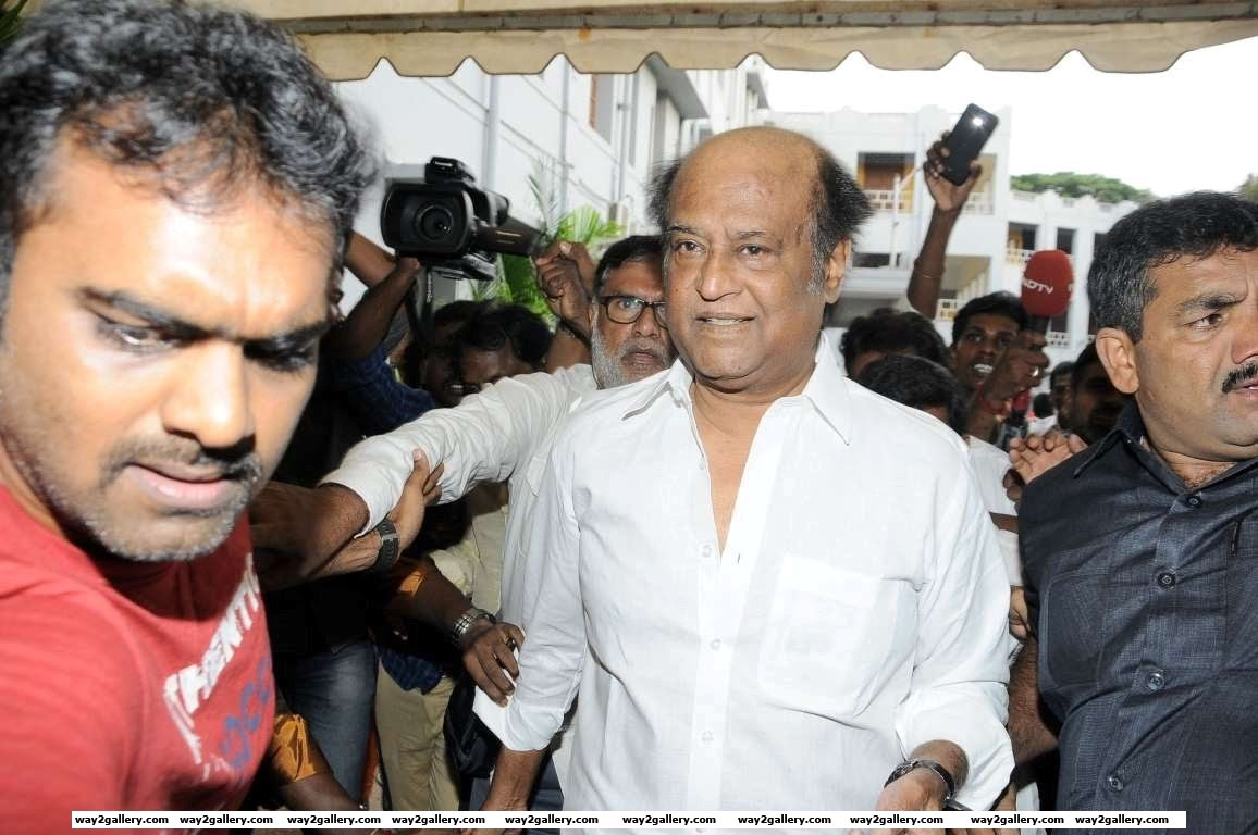 Superstar Rajinikanth makes his way to cast his vote during Tamil Nadu Elections