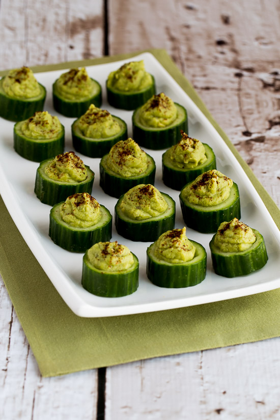 Easy Cucumber Guacamole Appetizer Bites found on KalynsKitchen.com