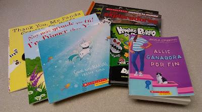 libros en espanol, y libros bilingues: 'Thank You, Mr. Panda / Gracias, Sr. Panda,' 'Soy mas grande que tu / I'm Bigger than You,' 'Casi un Narval,' 'Exploradores,' 'Hombre Perro se desata' y 'Allie, Ganadora por Fin'