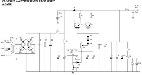 Circuit Schematic Adjustable Regulated Power Supply 0-28V