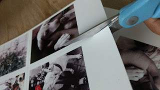 cutting polaroid pictures