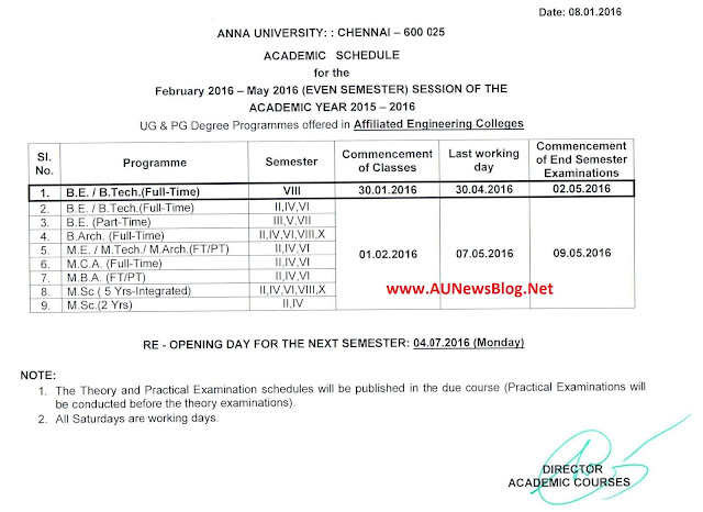 Anna University January to May 2016 Academic Schedule for 2nd,4th,6th & 8th Semester - aunewsblog