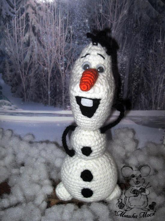 игрушка крючком, вязаная игрушка, снеговик Олаф своими руками