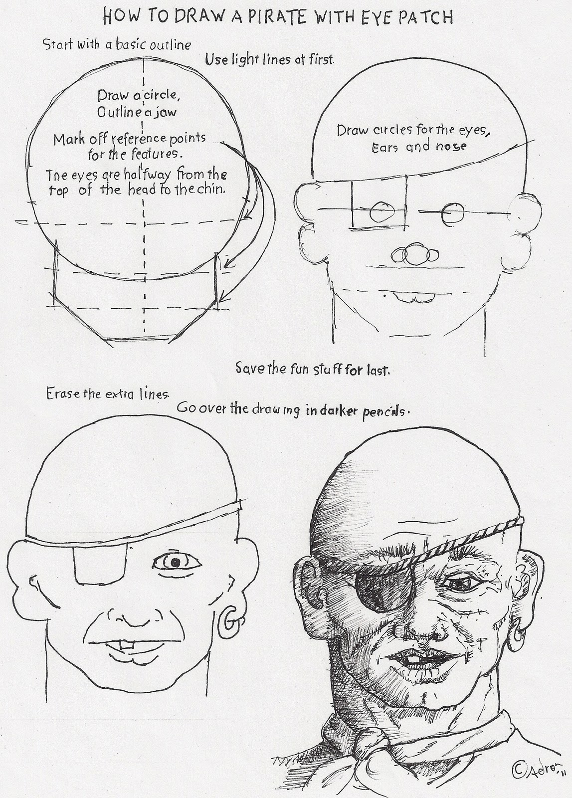 Workbooks how to draw printable worksheets : How to Draw Worksheets for The Young Artist: How to draw a Pirate ...
